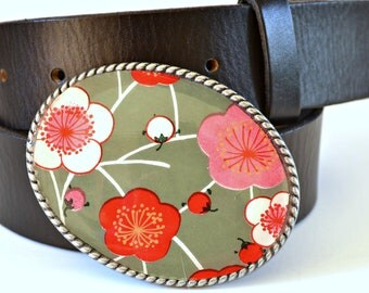 Belt Buckle Asian Blossoms  Gray Pink Red