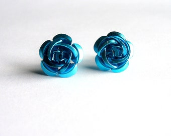 Blue Flower Earrings, Blue Rose Studs, Aluminum Roses
