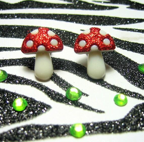 Mushroom Earrings, Studs, Toadstools, Red White