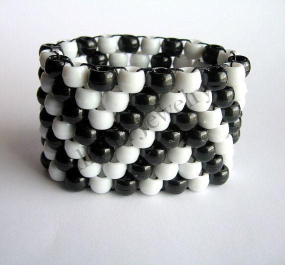 Black, White Kandi Cuff, ZigZag, Zig Zag Bracelet