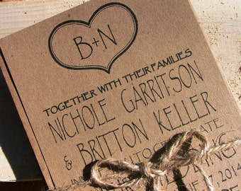 Initials and Heart wedding invitation set: rustic wedding invites, initials