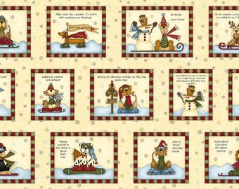 Winter Parade Panel Dogs Snowmen Words Fabric Panel