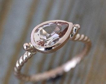 Morganite Pear Shaped Ring, 14k Rose Gold Ring, Nautical Ring with Morganite Gemstone Faceted in Bezel Gemstone Ring