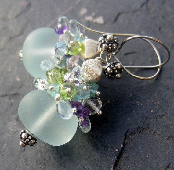 Chalcedony, aquamarine earrings sterling silver amethyst blue topaz peridot mermaid fashion gemstone jewelry cluster dangle --Acapulco--