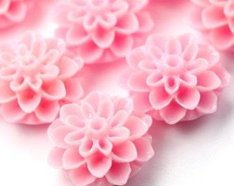 Dahlia Flower Cabochon Resin 15mm Bubblegum Pink (6) PC327 CLEARANCE SALE 50% OFF