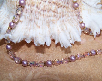 Pink Pearl and Fire Polish Necklace with Gold Spacers