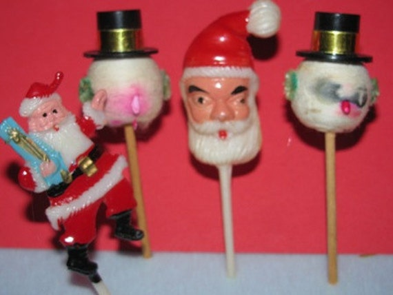 Etsy Christmas Cake Decorations : Items similar to Vintage 1950 s Christmas Cake Toppers,x...