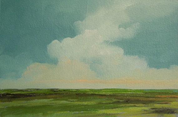 ARISE, original painting 100% charity donation oil painting landscape 4x6, art board, clouds, field