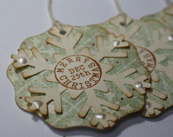 Handmade Christmas Gift Tags - Set of 6 - Vintage Style Snowflake