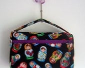 Toiletry bag or cosmetic make up bag or zipper travel diaper bag in rare russian doll fabric