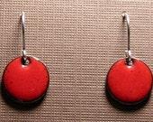 Short Dangle Earrings, Red Copper Enamel Jewelry, Sterling Silver French Hook Earwires, Candy Apple Red, Handmade Earrings