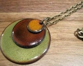 Enamel Copper necklace  Persimmon Orange Chestnut and Olive Handmade Triple Copper Enamel necklace