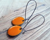 Pumpkin Orange Dangle Earrings, Orange Copper Enamel Drop Earrings, Nickel Free Kidney Earwires, Bright Orange, Handmade Earrings