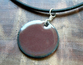 Mocha Brown Copper Enamel Handmade pendant necklace 1 inch disc The Prairie Collection