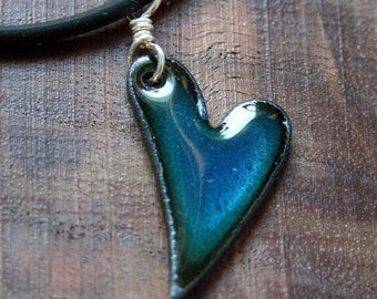 Necklace Heart, Love Necklace, Blue Heart Pendant, Heart Jewelry, Valentine's Day Jewelry, Copper Enamel Jewelry