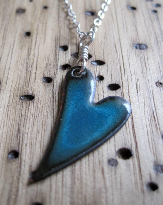Electric Blue Heart Necklace, Enamel Heart Jewelry, Blue Heart Pendant, Copper Enamel Jewelry