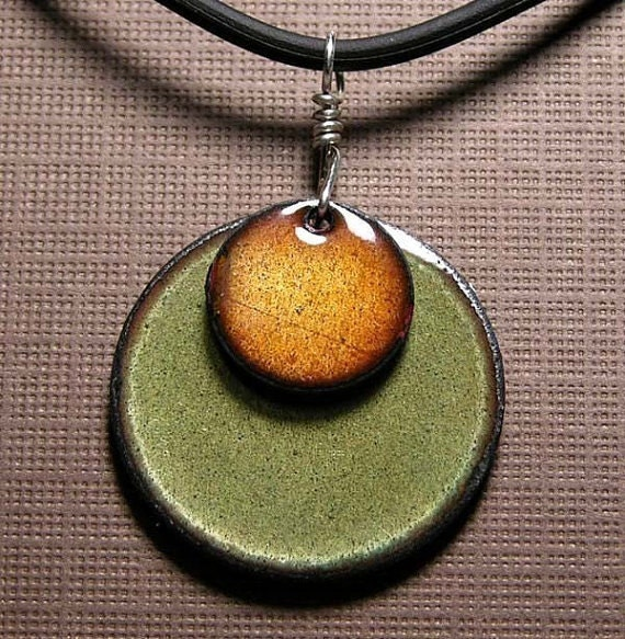 Copper Enamel necklace persimmon orange and olive green discs