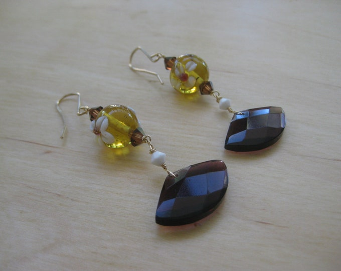 Insouciant Studios Late Blooming Earrings Lampwork Flower Bead Purple Quartz