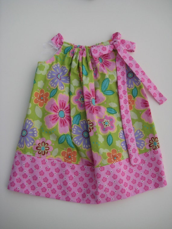 SALE Pillowcase Dress Foral Pink and Green  Boutique Size 4T Ready to Ship