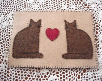 Primitive Candle Mat - Penny Rug - Two Cats