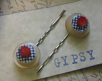 Gurtie- retro inspired vintage button and coral bobby pins