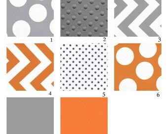 Custom Crib Bedding-3 piece-Orange and Grey