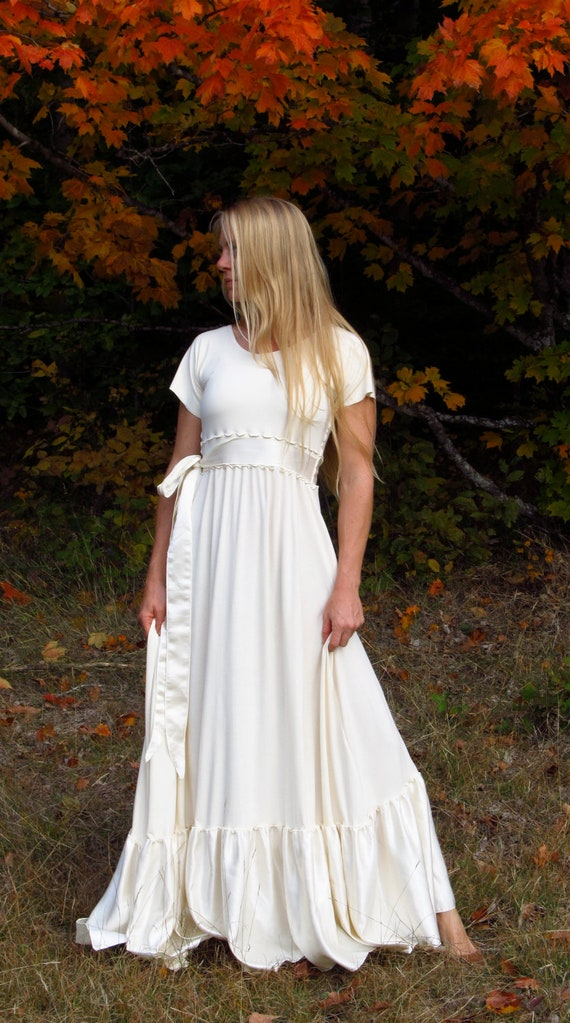 organic cotton wedding dress with cap sleeves and silk details