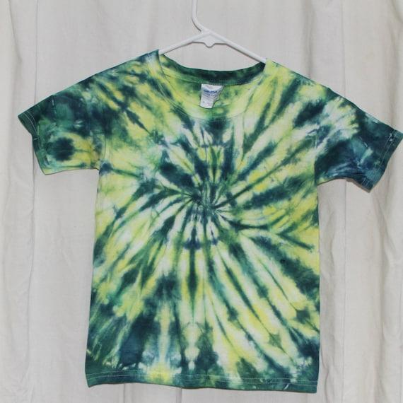 Tie Dye Shirt - 4T- Short Sleeve - Swirl - Yellow, Green and Blue