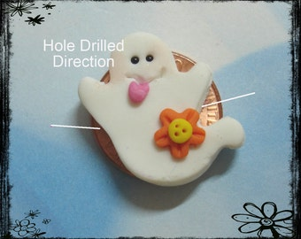 SALE Halloween Ghost Polymer Clay Charm Bead, Scrapbooking, Bow Center, Pendant, Cupcake topper, Magnet, Ring