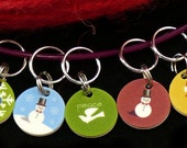 Have a PEACEful holiday - set of 7 stitchmarkers for KNITTERS or CROCHETERS