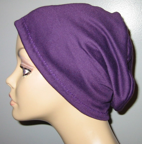 2-Way Purple  Knit Chemo Cap, Cancer Hat, Alopecia, Modest Hat,