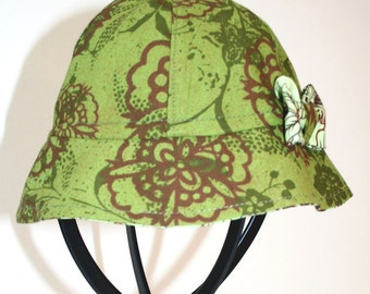 OOAK Child's Sun Hat - Recycled Green Floral Cotton