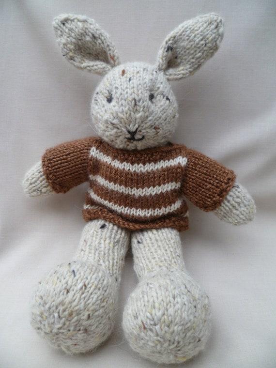 Ready to ship......... Jonah, a hand knitted plush bunny rabbit