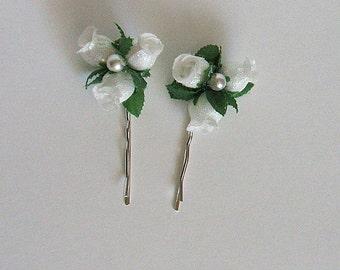 Hair Pins Handmade Silk Rosettes & Pearl Ivory or White