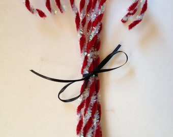 Primitive Chenille Sparkly Candy Cane Ornaments Red And White
