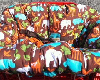 Chocolate Zoology Reversible Shopping Cart Cover - Fits ALL Carts