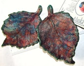 Ceramics and Pottery Alder Leaf Set of 2 - Multi Color Copper Luster Raku Ceramic - Alder Leaf Inspired Art Decoration - mmartiniuk