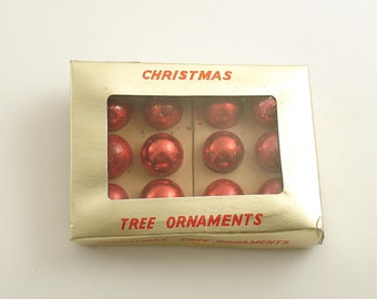 Vintage Christmas Glass Ornaments Box Red Ornaments Christmas Ornaments Small Ornaments