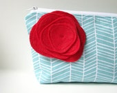 Large Cosmetic Bag, Red and Aqua Blue Zipper Pouch, Make Up Bag with Rose Flower Brooch, Personalized Bridesmaid Gift,