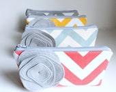 Chevron Bridesmaid Clutch Set, Flower Brooch, Cosmetic Bag, Set of 6, Choose Colors, Coral, Grey, Aqua