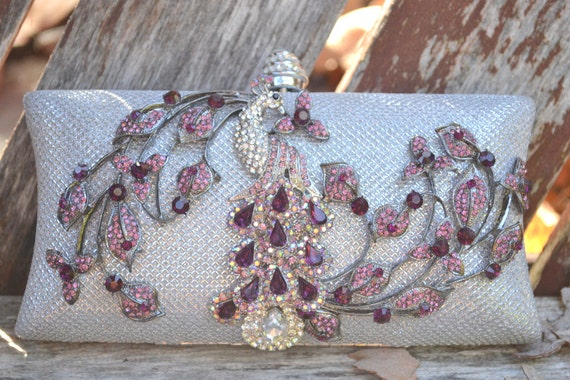 Peacock clutch -- ready to ship