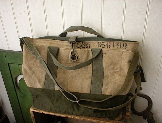 Recycled canvas carryall, satchel - eco vintage fabrics