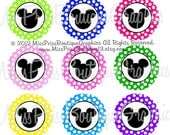 4x6 - MICKEY DOTS - Instant Download - Colorful Mickey Inspired Dots - 15 Colors - One Inch Bottlecap Digital Graphic Collage Sheet - No.891
