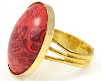 Vintage Marbled Red and Gold Ring, Vintage Ring,Statement Ring