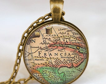 France  map necklace, france vintage map  pendant, france map jewelry, keepsake jewelry , friend family gift idea