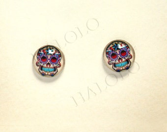 Sale - 10pcs handmade skull  clear glass dome cabochons 12mm (12-0609)
