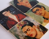 Frida Kahlo - mexican folk art artist - stone coaster set
