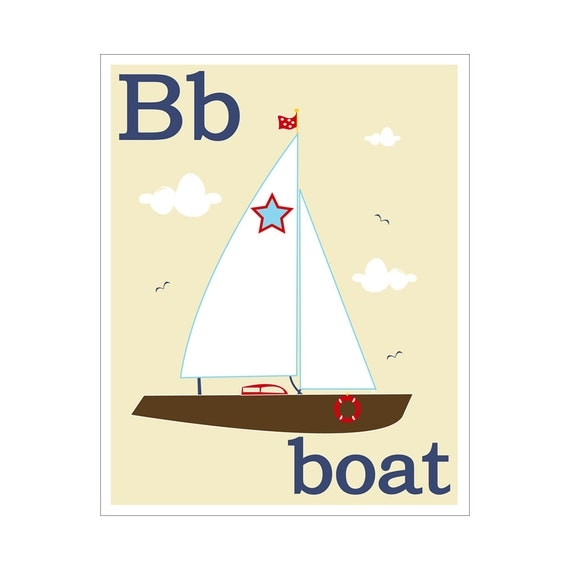 Children's Wall Art / Nursery Decor B is for Boat  print by Finny and Zook