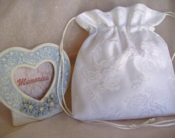 WEDDING, BRIDAL WHITE Drawstring Bag, Wedding Lace Overlay, Keepsake Bag, Heirloom Bag, MONeY Bag, Wedding Accessory