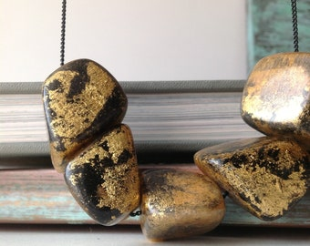 Black and Gold Wood Nugget Floating Necklace - Sparkle Gold Paint Beads